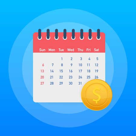 Finanzkalender, jährlicher Zahltag, monatliche Budgetplanung, Konzept für feste Zeiträume. Vektorgrafik auf Lager.