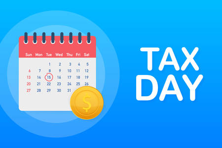 Tax Day Reminder Concept - Calendar Design Template. Tax Deadline. Vector stock illustration.