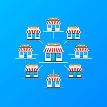 Franchise business concept, franchise marketing system. Vector stock illustration.