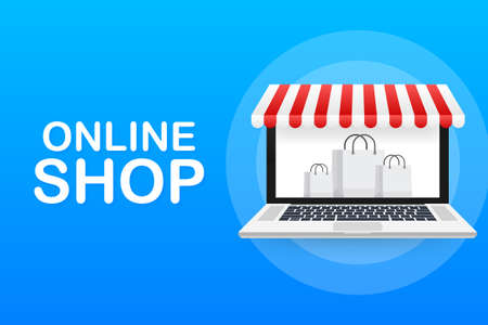 Shopping Online on Website. Online store, shop concept on laptop screen. Vector stock illustration.