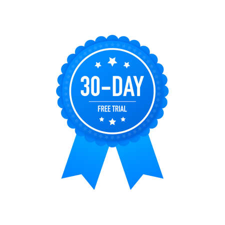 30 days free trial label, badge, sticker. Software promotions for free downloads. It can be used for application. Vector stock illustration. Vettoriali
