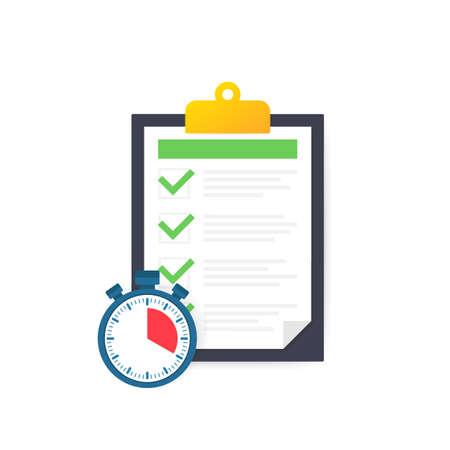 Fast service, simple solution, project management, survey clipboard, improvement checklist. Vector stock illustration. Vecteurs