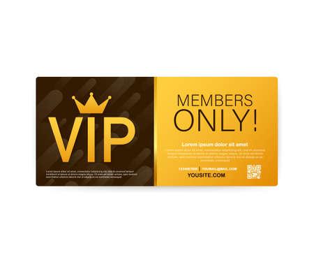 Cartes de club VIP, ruban d'or réservé aux membres, étiquette. Or et luxe, icône d'adhésion, exclusif et prioritaire. Illustration vectorielle de stock.