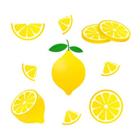 Cytrynowy. Żółta cytryna wektor ilustracji na białym tle.