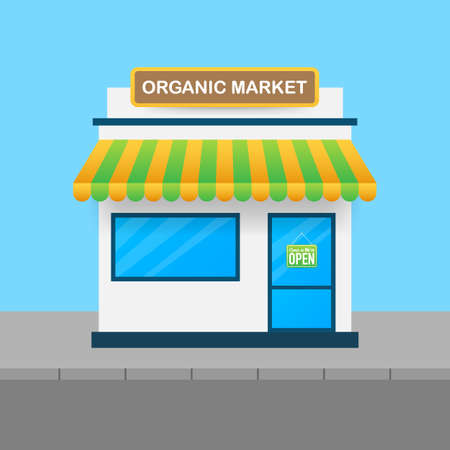 Vegetarian market, fresh farm organic food. Wholesome vegetables and fruits. Vector stock illustration.