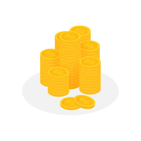 Coins stack, golden penny cash pile. Vector stock illustration.