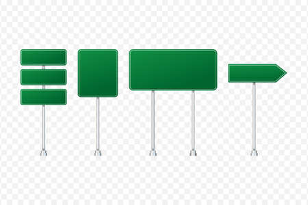 Set of road signs isolated on transparent background. Vector stock illustration