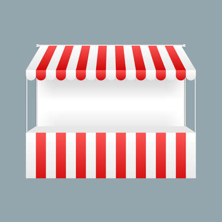 Template shopping stand with red and white striped awning, mock up. Vector stock illustration. Ilustración de vector