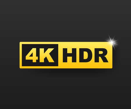 Símbolo 4K Ultra HD, marca de resolución 4K de alta definición, HDR. Ilustración de stock vectorial.