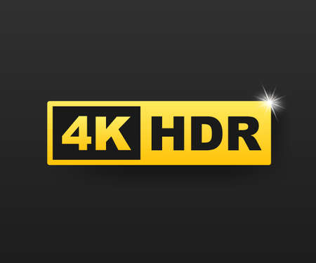 Symbole 4K Ultra HD, marque de résolution 4K haute définition, HDR. Illustration vectorielle de stock.