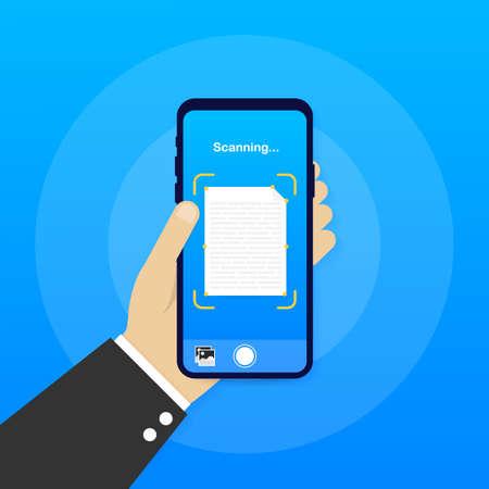 Text scan. Document scanner smartphone interface vector template. Mobile app page blue gradient design layout. Vector illustration. Vektorové ilustrace