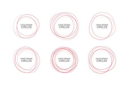 Set hand drawn ovals, felt-tip pen circles. Rough vector frame elements. Vector stock illustration. Ilustrace