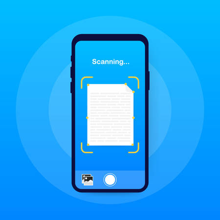 Text scan. Document scanner smartphone interface vector template. Mobile app page blue gradient design layout. Vector illustration.