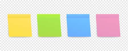 Notas adhesivas de colores. Publicar papel de nota. Ilustración vectorial