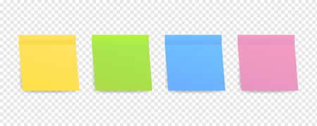 Sticky colored notes. Post note paper. Vector illustration