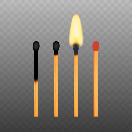 Realistic Burning Match on Transparency Grid Background. Vector illustration.