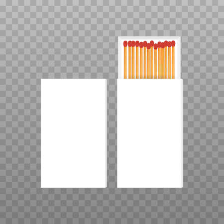 Vector Opened Blank Box Of Red Matches Top View. Vector illustration.