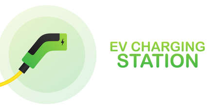 EV charging station banner. Vector illustration