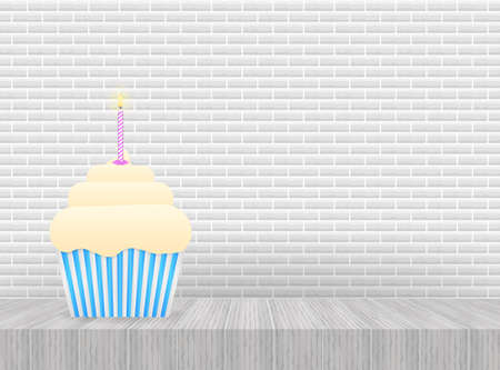 Chocolate cupcake with burning candle. Vector illustration.