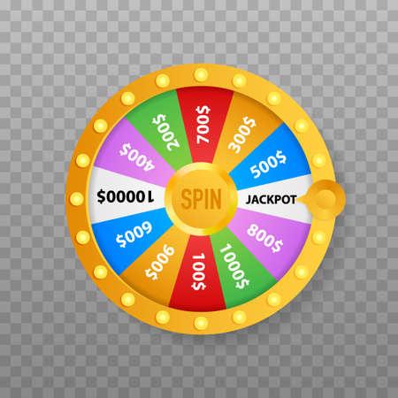 Fortuna della roulette 3d. Ruota la fortuna per il gioco e vinci il jackpot. Concetto di casinò online. Marketing di casinò online. Illustrazione vettoriale.