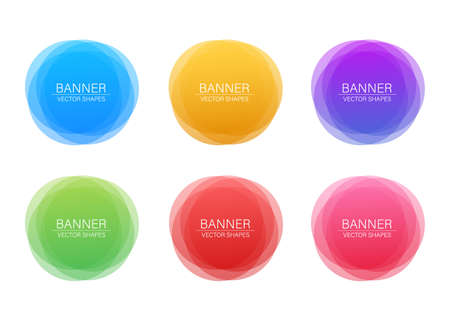 Set of round colorful vector shapes. Abstract vector banners. Vector illustration.