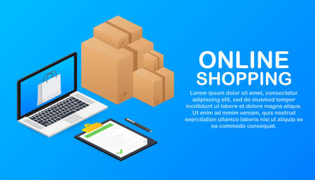 Online shopping e-commerce concept with online shopping and marketing icon. Vector illustration.