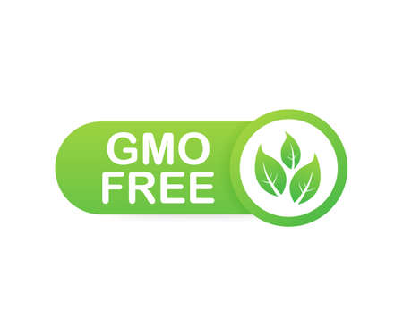 Green colored GMO free emblems, badge, logo, icon Vector illustration