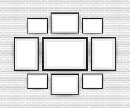 Black Picture Frame Isolated Background. Vector illustration.