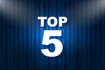 Top 5 text with illumination. Vector illustration