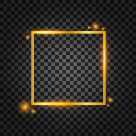 Vector golden frame with lights effects. Rectangle banner. Glowing magic frame. Vector illustrtaion.