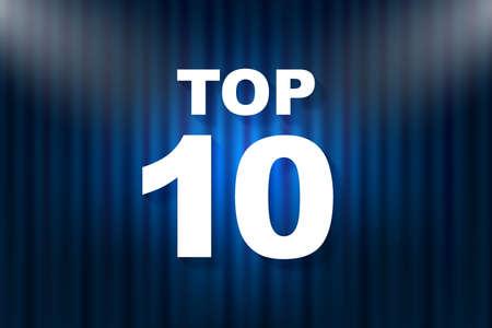 Top 10 text with illumination. Vector illustration