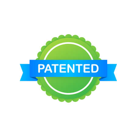 Green patented label on blue ribbon on white background. Vector illustration.