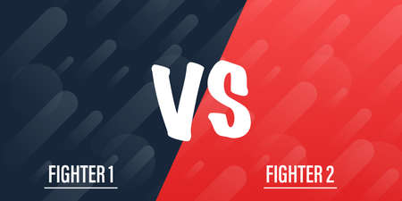 VS Versus Blue and red comic design. Battle banner match, vs letters competition confrontation. Vector illustration.