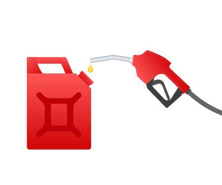 Red canister. Fueling gasoline or diesel vector web banner. Filling stations network, petroleum. Vector illustration.