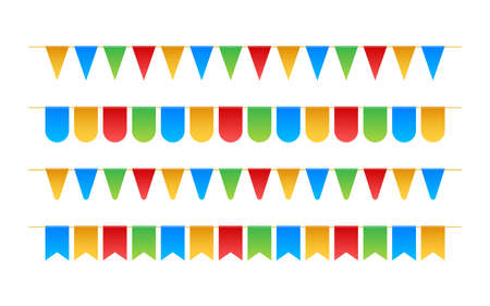 Birthday party invitation banners. Set of flag garlands. Vector illustration.