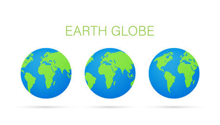 Set Earth globes isolated on white background. Flat planet Earth icon. Vector illustration.