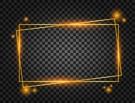 Vector golden frame with lights effects. Rectangle banner. Glowing magic frame. Vector illustration.