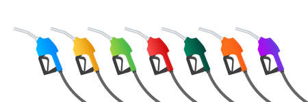 Fueling gasoline or diesel vector web banner. Filling stations network, petroleum. Vector illustration. Ilustrace