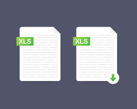 Download XLS button. Downloading document concept. File with XLS label and down arrow sign. Vector illustration. Ilustrace