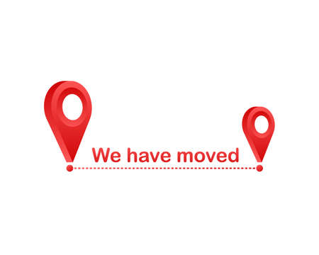 We have moved. Moving office sign. Clipart image isolated on blue background. Vector illustration. Illustration