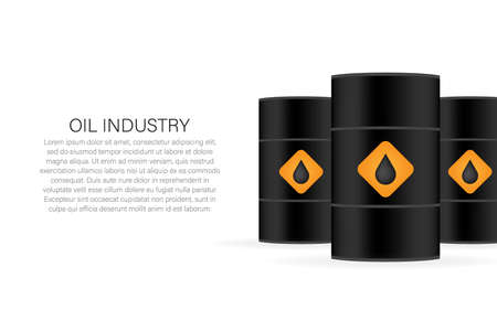 Oil industry. Blank realistic black oil barrel on white background. Vector illustration. Ilustrace