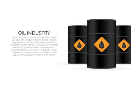 Oil industry. Blank realistic black oil barrel on white background. Vector illustration. Illustration