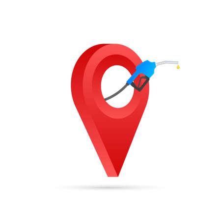Gas station icon location. Fuel pump, fuel station location gps marker icon. Vector illustrtaion. Illustration