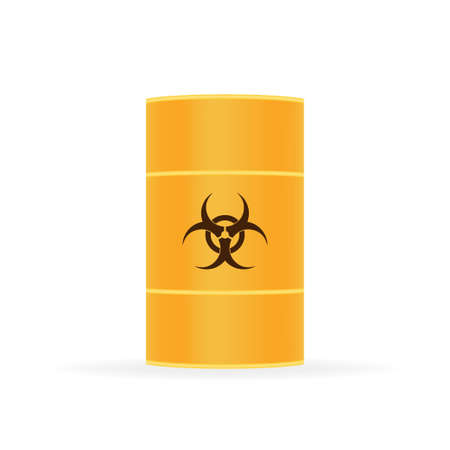 Barrels of biohazard waste, Radioactive waste on white background. Vector illustration. Ilustrace