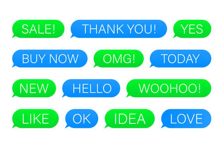 Set of SMS bubbles messages with dialog words. Vector illustration.