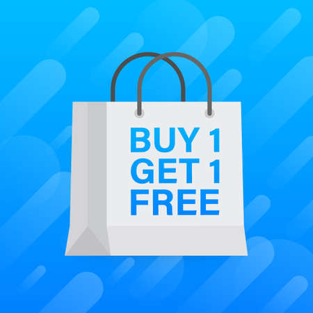 Buy 1 Get 1 Free, sale tag, banner design template. Vector illustration.