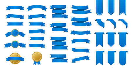 Blue ribbons banners. Set of ribbons. Vector illustration.