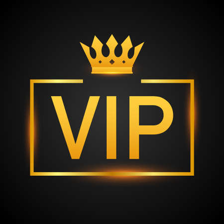 Golden symbol of exclusivity, the label VIP with glitter. Very important person - VIP icon on dark background Sign of exclusivity with bright, Golden glow. Vector illustration. Ilustrace