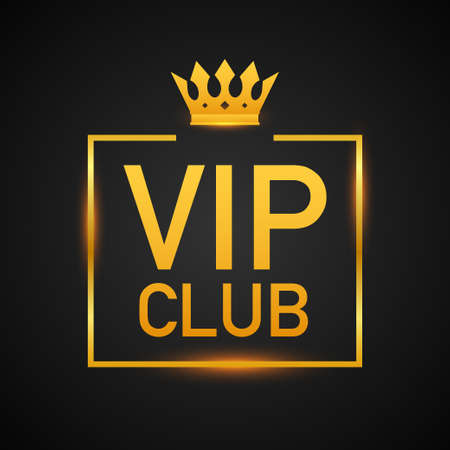 Vip club label on Black background. Vector illustration.