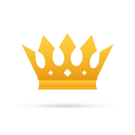Crown of king isolated on white background. Gold royal icon. Vector illustration.